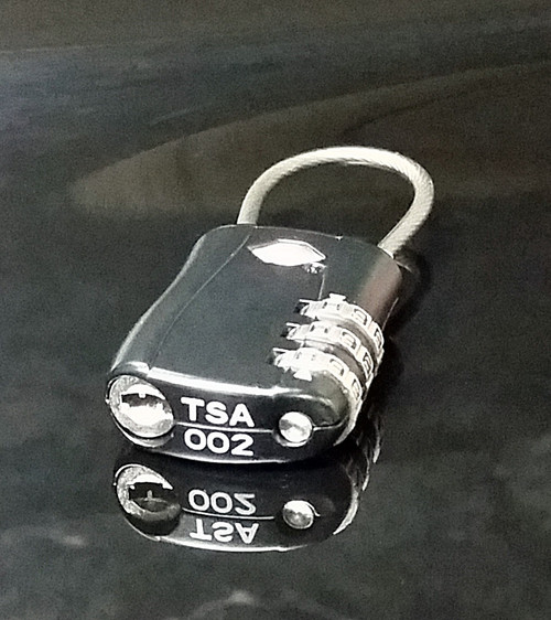 TSA Travel Luggage Lock 3 Dial Black Backpack Flexible Shackle