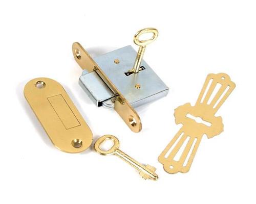 Round Corner Desk Lock Brass
