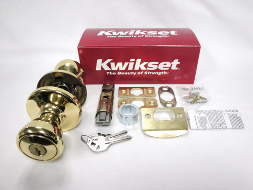 Kwikset Tylo 400T Keyed Entry Knob Polished Brass