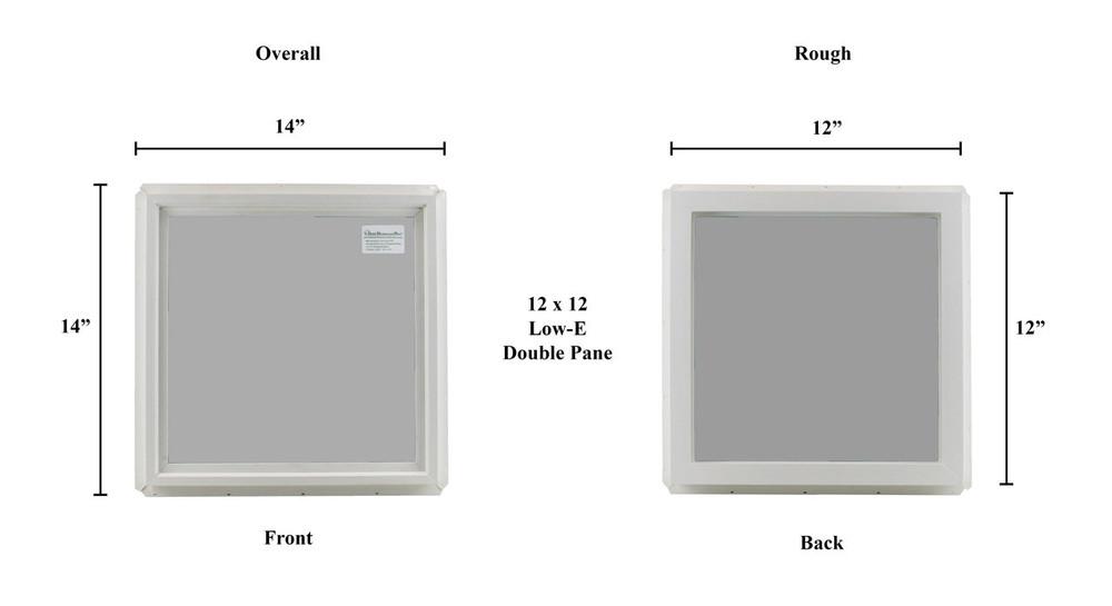 "12"" x 12"" Transom Double Pane Vinyl Windows"