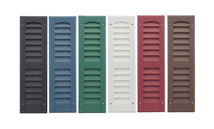 """9""""x21"""" Louvered Shutters Colors: Black, Bedford Blue, Forrest Green, White, Maroon, and Dark Brown"""