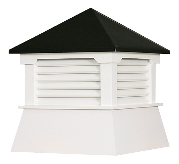 """16"""" Vinyl Vented Cupola with Hip Roof with Black Metal Cap"""