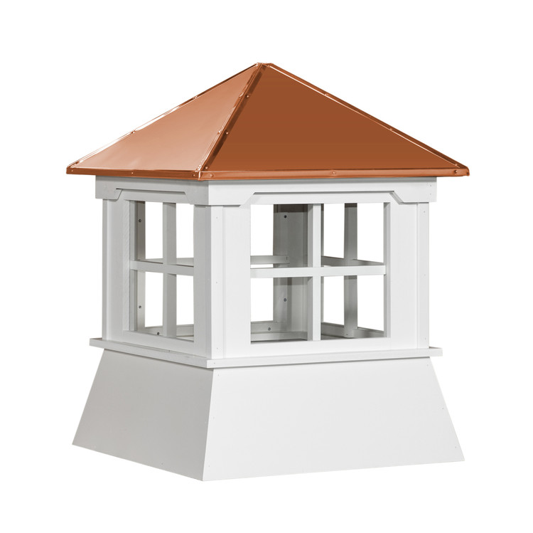 """16"""" Vinyl Window Cupola with Hip Roof with Copper Cap"""
