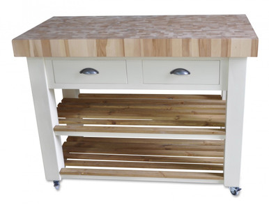 Butchers Block Kitchen Island - trolley on wheels / castors hand painted