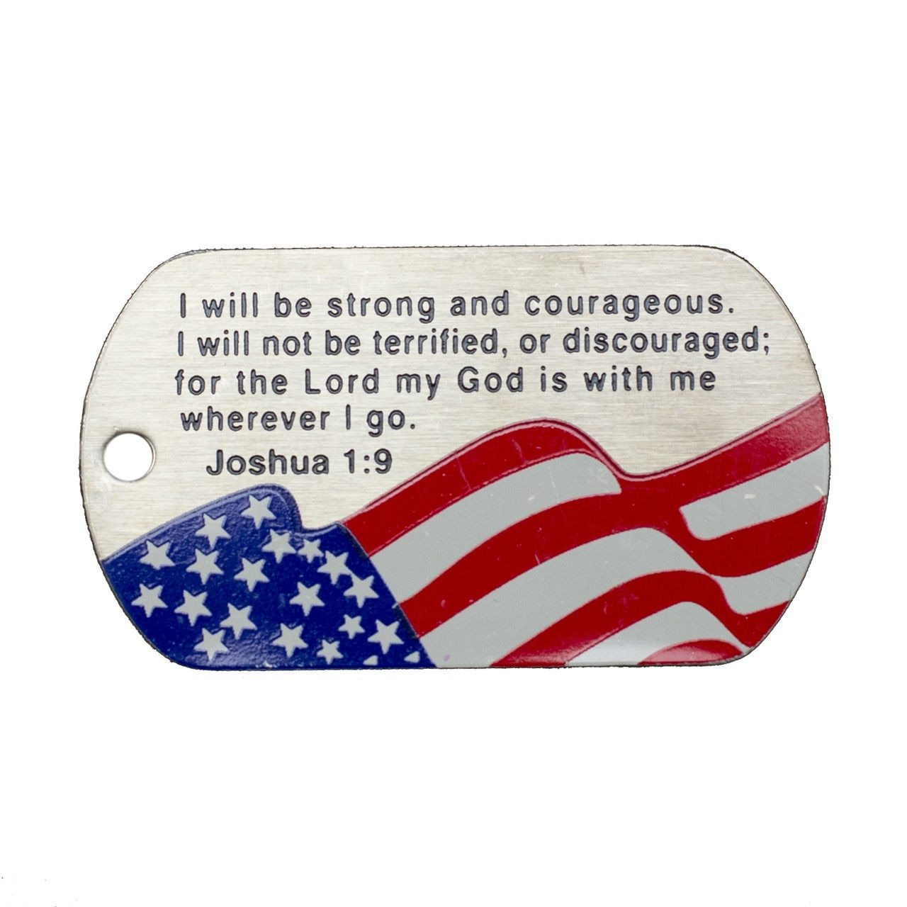 American Flag Dog Tag Necklace Joshua 1 9 Engraved