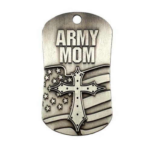 Army Mom Antique Finish Dog Tag Necklace-1 Corinthians 13:7-8