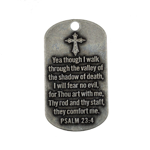 Psalm 23:4-Antique Finish Dog Tag Necklace
