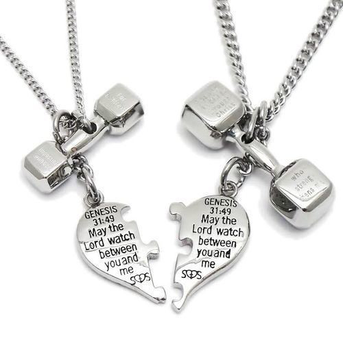 "Stainless Steel Puzzle Split Heart and Dumbbell Combo Necklace-Genesis, Phil. & Luke-""PAT""NO.D710,241"