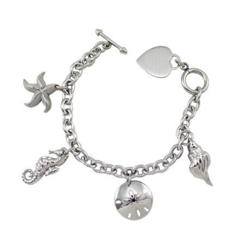 Women 39 s take me to the beach charm bracelet for Stainless steel jewelry durability