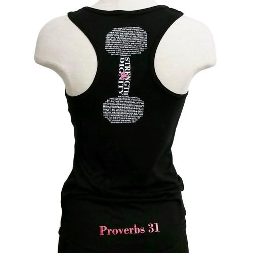 Women's Black Strength & Dignity Tank- Proverbs 31