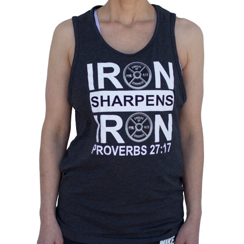 "Charcoal Next Level Tank ""Iron Sharpens Iron""-Proverbs 27:17"