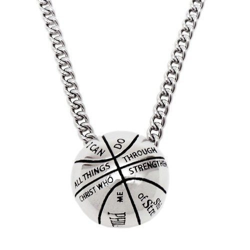 Basketball pendant necklace philippians 413 basketball necklace mens stainless steel 3 d basketball pendant necklace phil mozeypictures Images