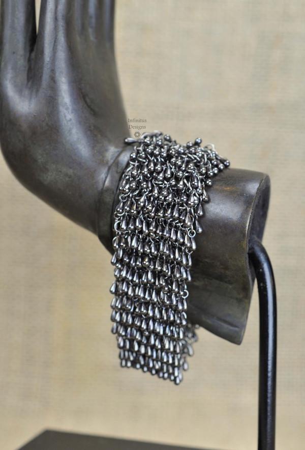 Gunmetal Rain Drop bracelet with 4-loop clasp, by Infinitus Designs