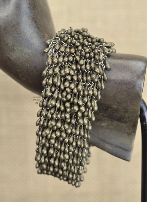 Antique Brass Rain Drop bracelet with 5-loop clasp, by Infinitus Designs