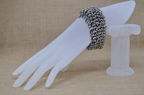 Chrome Rain Drop bracelet with 5-loop clasp, by Infinitus Designs