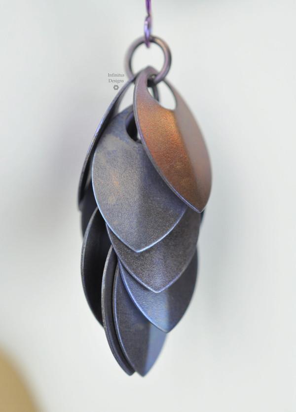 Purple Dangling Shields in titanium, by Infinitus Designs