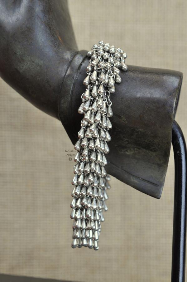 Chrome Rain Drop bracelet with 2-loop clasp, by Infinitus Designs