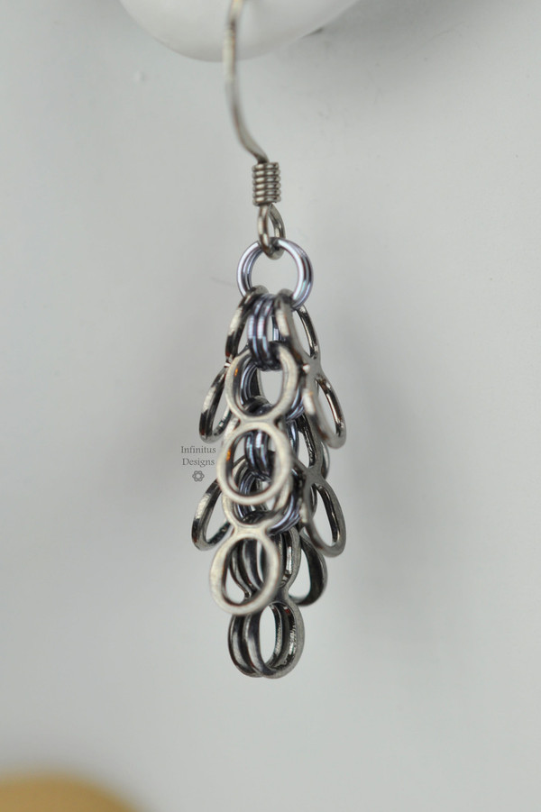 Black Ice Infinity earrings, by Infinitus Designs
