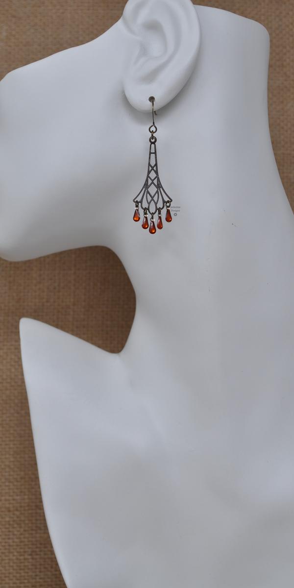 Orange Flapper Earrings, by Infinitus Designs