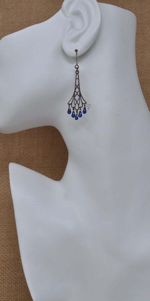 Blue Flapper Earrings, by Infinitus Designs
