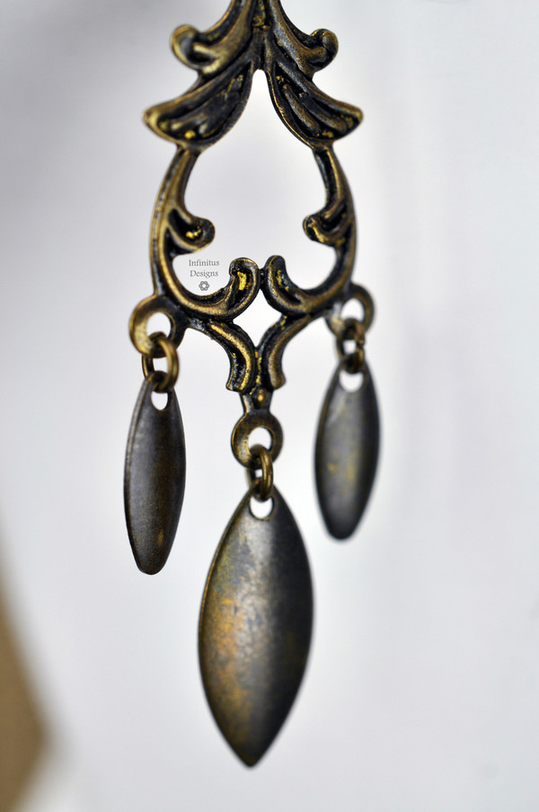 Antique Brass Marquise Trio Earrings, by Infinitus Designs