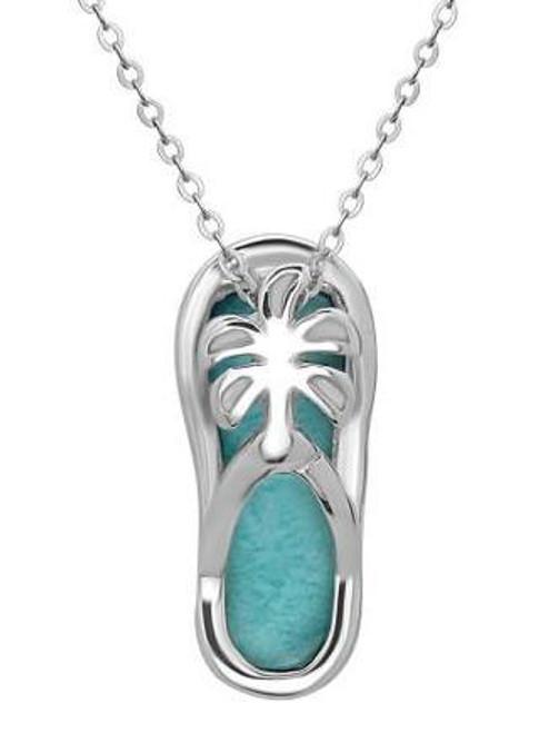 Larimar flip flop pendant lar7124 sterling silver pendant larimar flip flop 925 necklace aloadofball Gallery