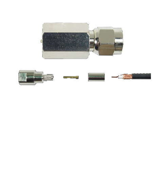 FME Male Connector For RG-8X Cable Crimp-On