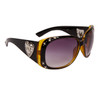 DI108 Rhinestone Sunglasses Black & Transparent Yellow Frame