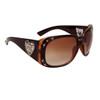 DI108 Rhinestone Sunglasses Black & Transparent Brown Frame