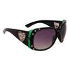 DI108 Rhinestone Sunglasses Black & Transparent Green Frame