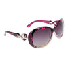 Fashion Sunglasses 809 Magenta Pattern w/Silver Bow