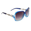 Wholesale Designer Sunglasses by the Dozen- Style # DE722  Patterned Blue w/Silver