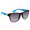 DE™ Designer Eyewear Wholesale Sunglasses - Style # DE725 Matte Black White Logo Blue Arms