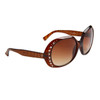 Animal Print Rhinestone Sunglasses 8229 Brown