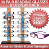 Reading Glasses Sample Pack ~ 36 Pair Assorted Styles ~ Display Stand 7077