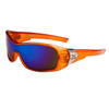 Xsportz™ Men's Sports Sunglasses Wholesale - Style # XS7000 Translucent Orange with Blue Flash Mirror Lens