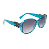 Women's Fashion Sunglasses Wholesale 21015 Transparent Blue Frame w/Black Bow