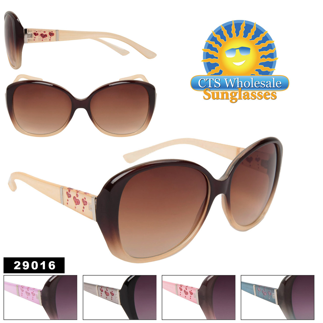 Glitter Heart Temple Sunglasses ~ Style #29016