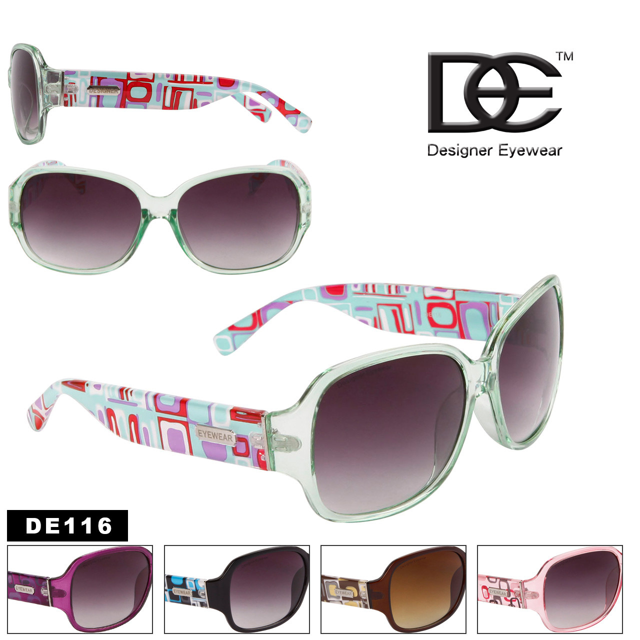 DE™ Abstract Temple Pattern Designer Sunglasses - Style DE116