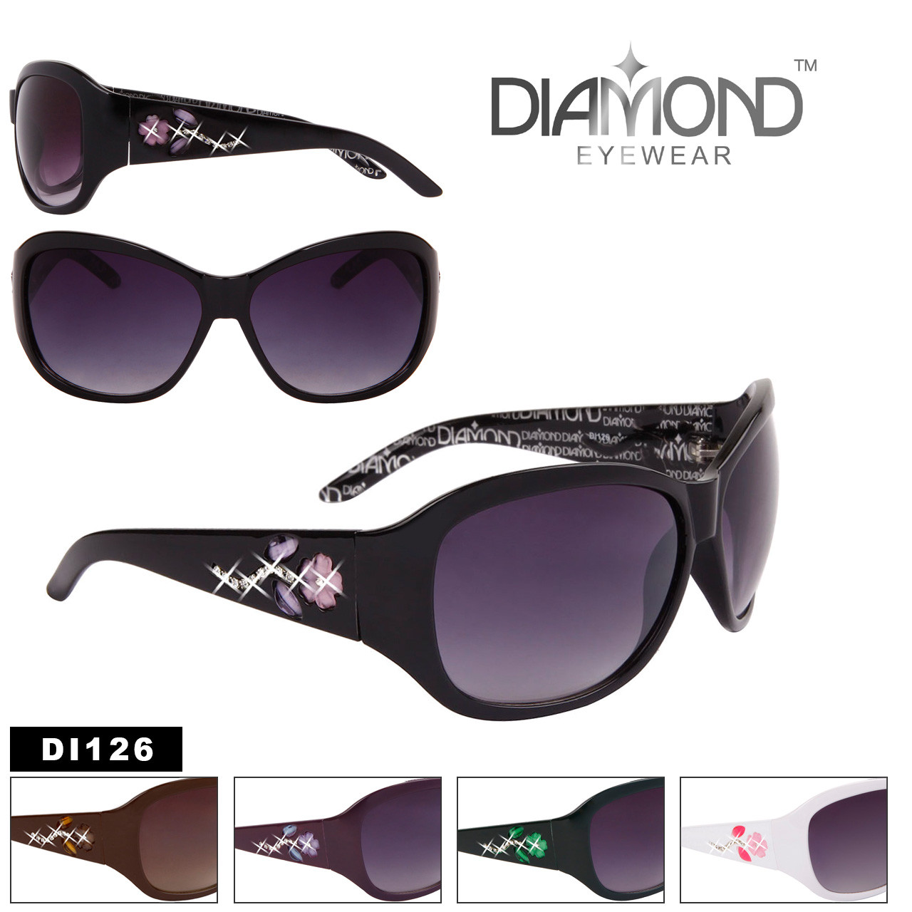 Rhinestone Flower Temple Fashion Sunglasses - Style #DI126