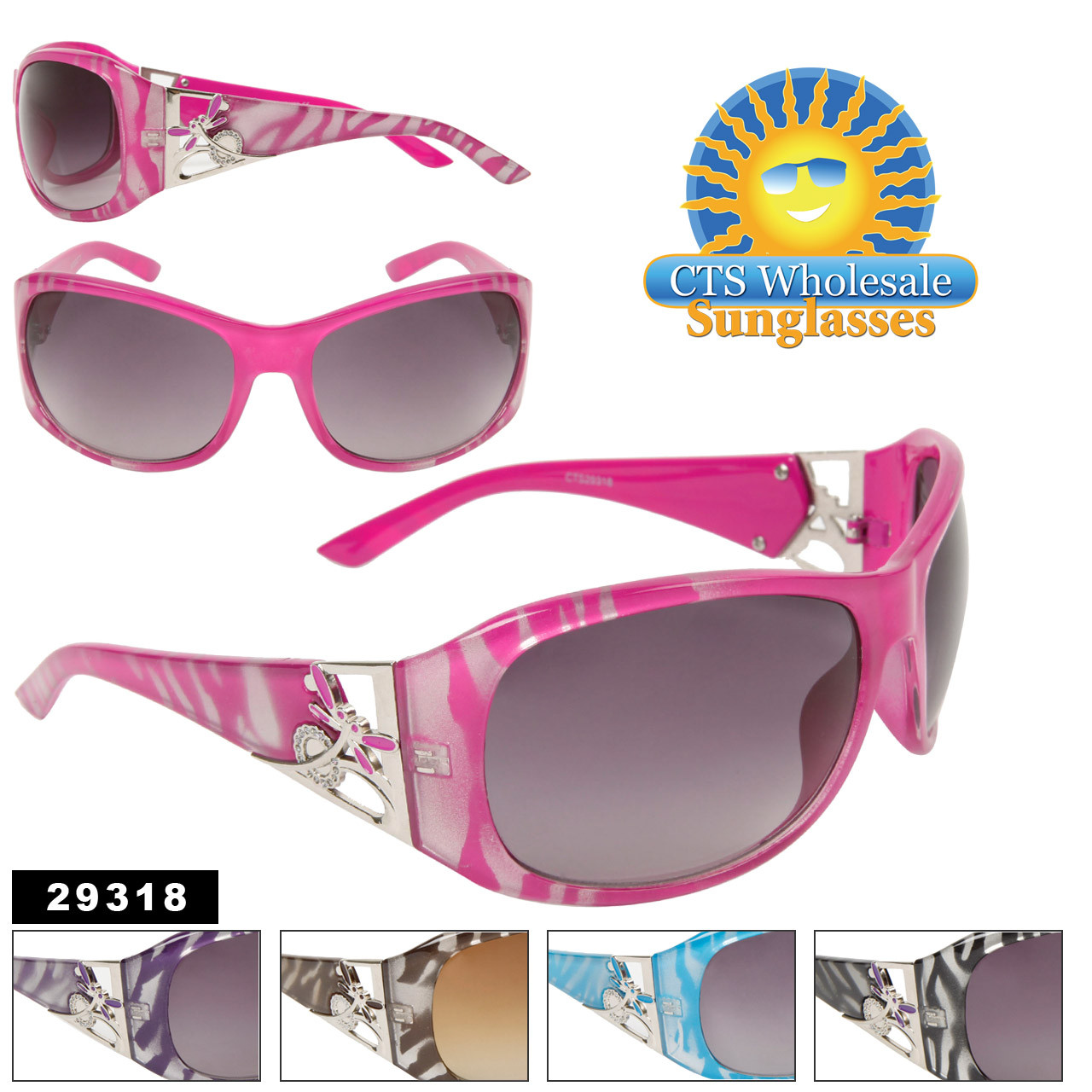 Fashion Sunglasses with Dragon Fly Accents!