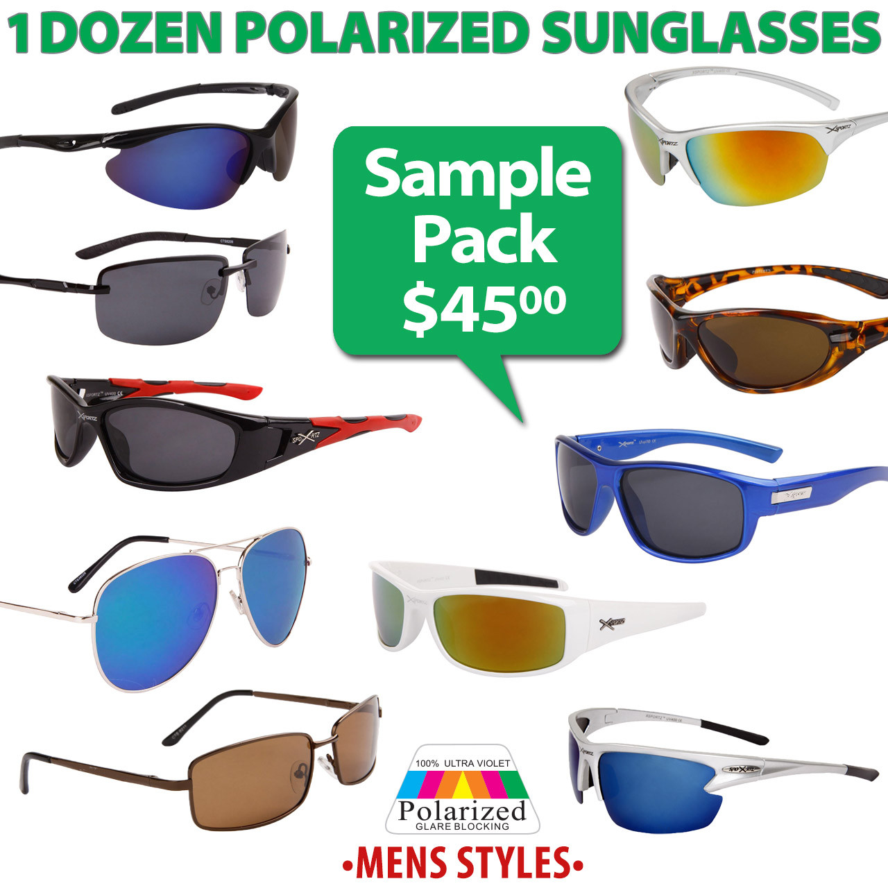 1 Dozen Sample Pack Polarized Sunglasses - Men's Styles