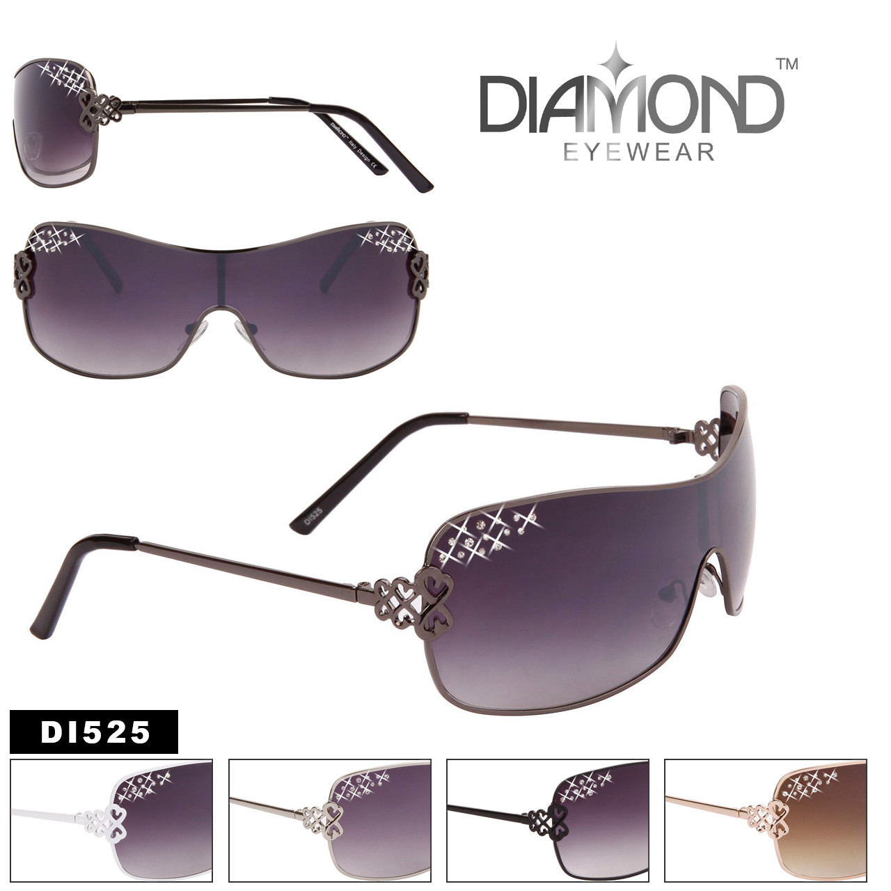 One Piece Lens Rhinestones and Hearts Diamond™Eyewear Sunglasses - Style #DI525