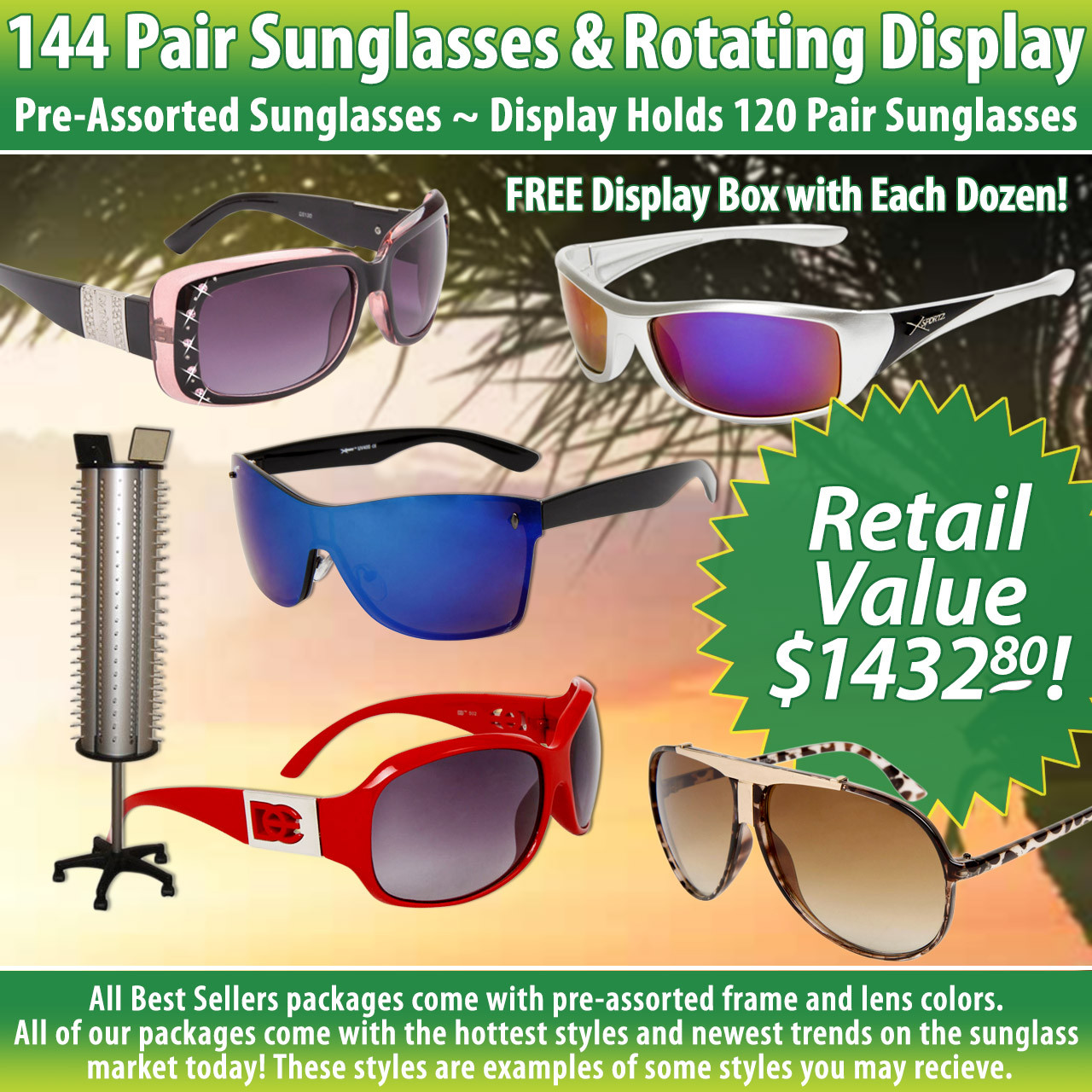 Package Deal 144 Pair Sunglasses & Rotating Floor Model Display SPA13 (12 dzn.+D007) Display Holds 120 Pair (Assorted Colors)