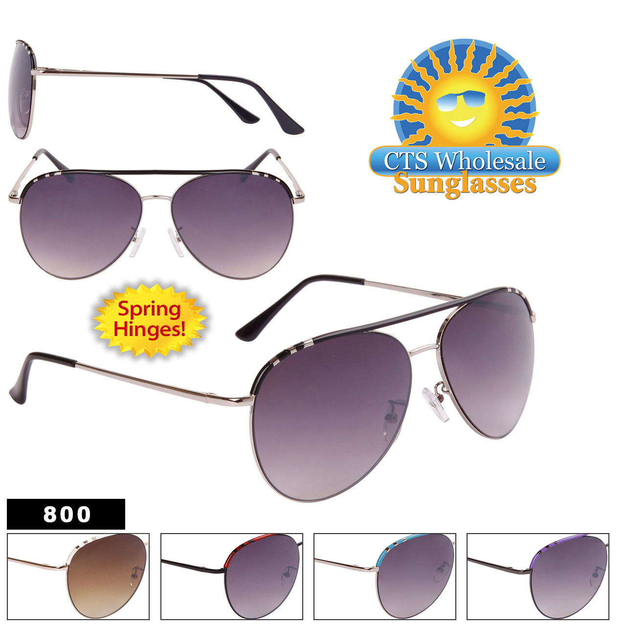 Bulk Spring Hinge Aviator Sunglasses - Style #800
