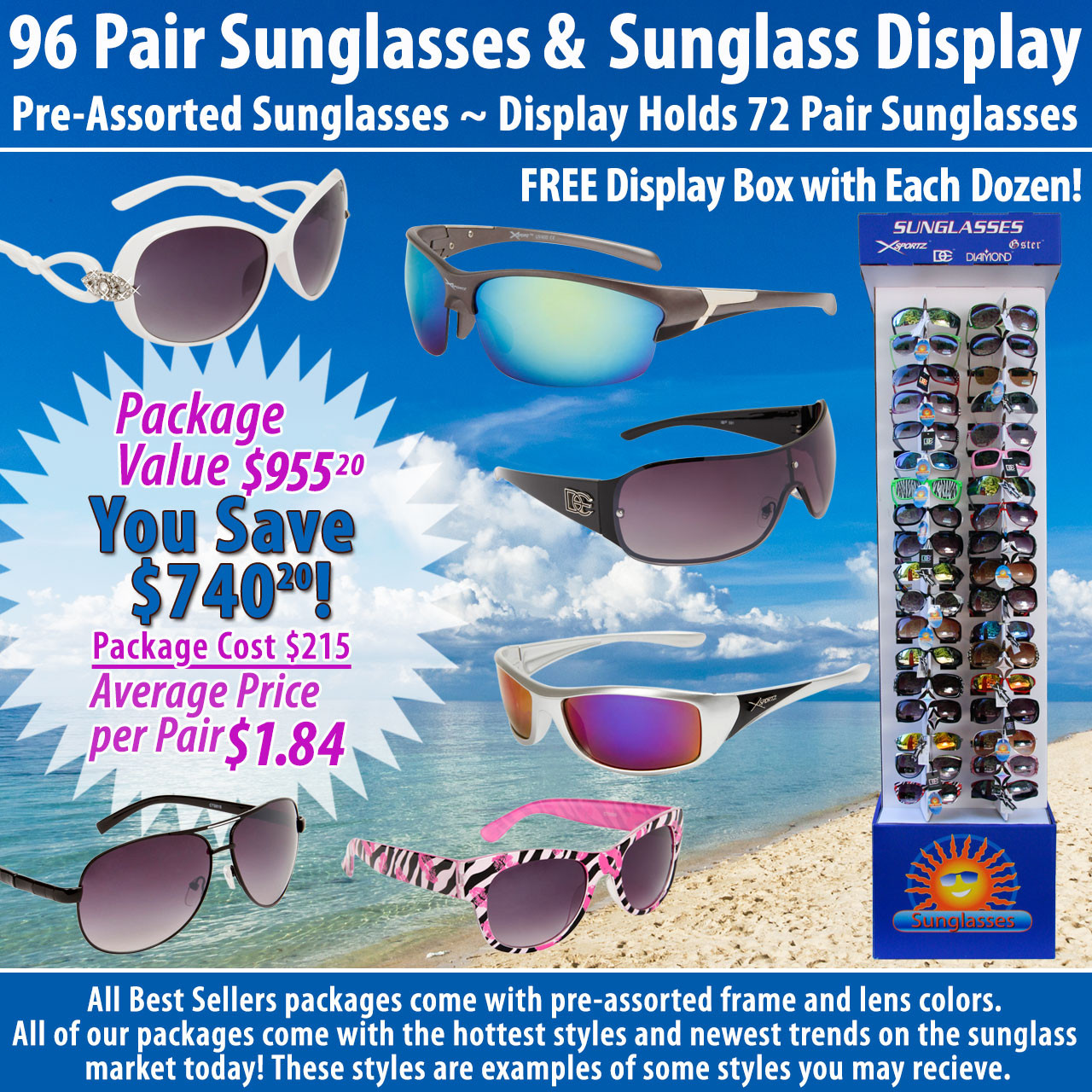 Package Deal SPA14 ~ 96 Pair Sunglasses & 7002 Display (96 pcs.) Display Holds 72 Pair