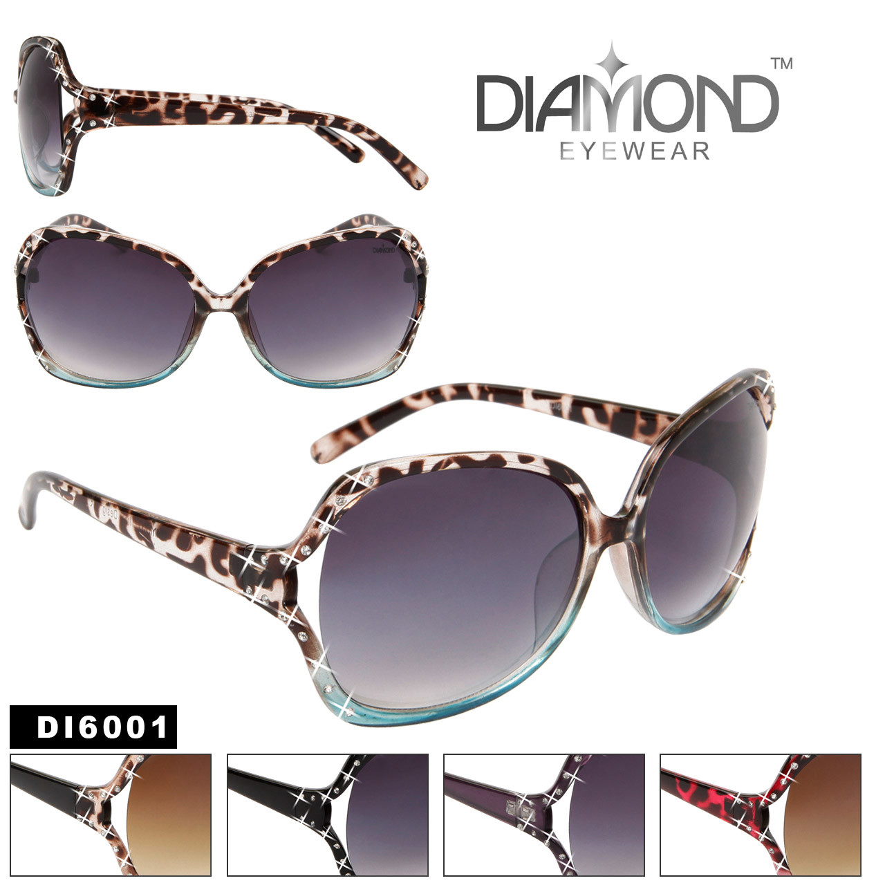 Animal Print Rhinestone Sunglasses DI6001