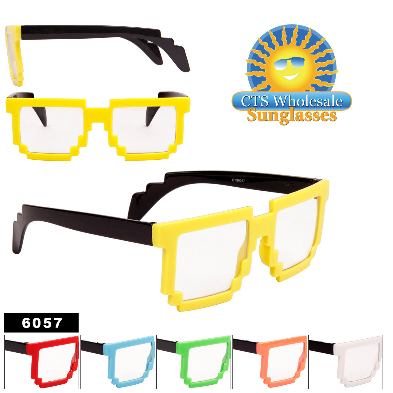 Wholesale Pixelated Clear Sunglasses - Style #6057