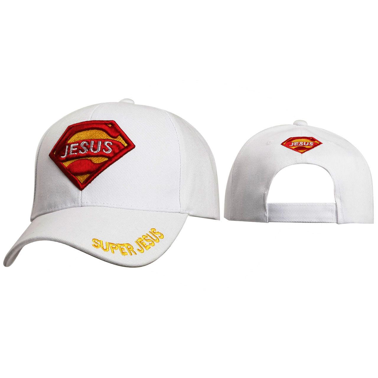Christian Baseball Caps Wholesale ~ Super Jesus ~ White