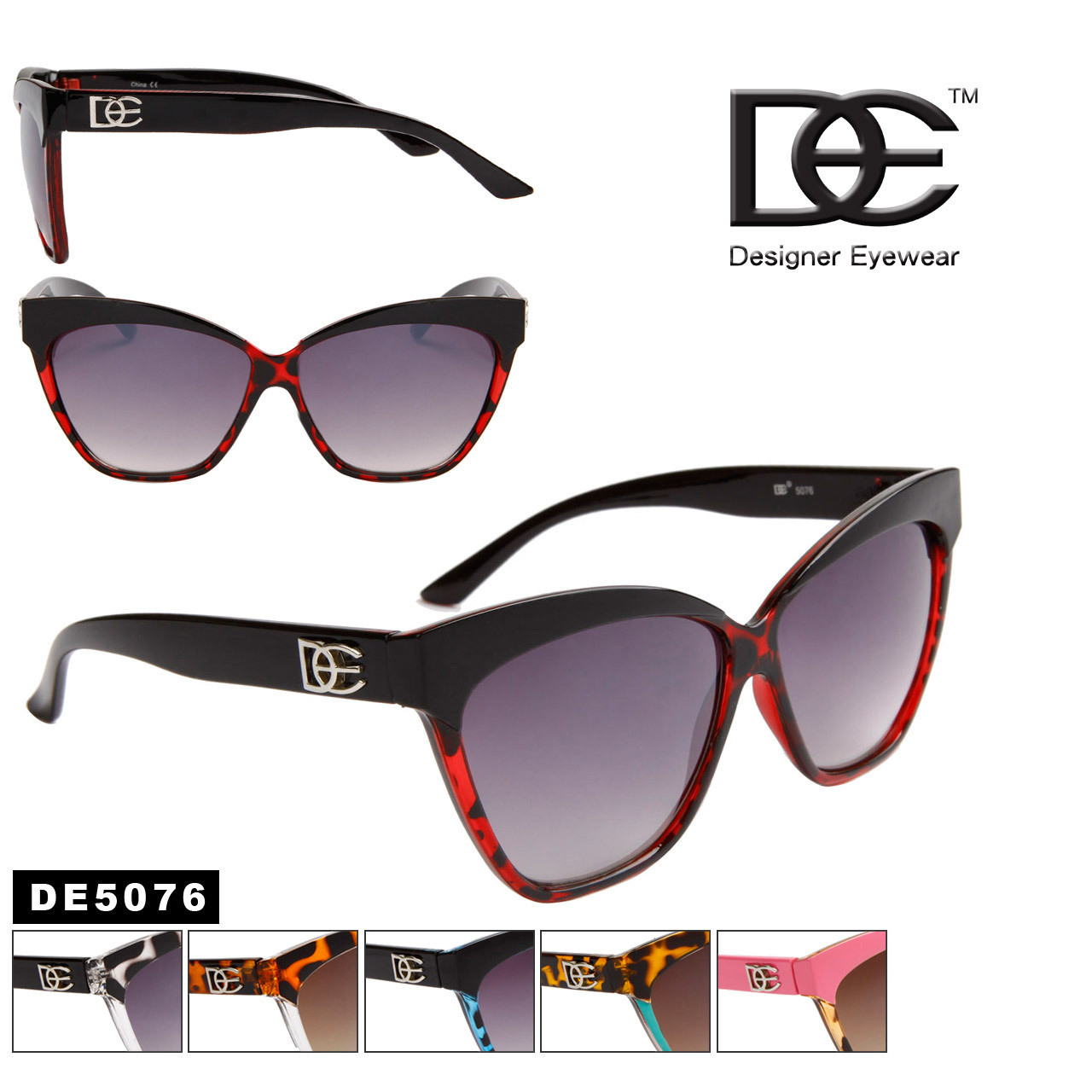 Designer DE™ Cat Eye Sunglasses Wholesale - Style # DE5076 (12 pcs.)